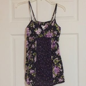 Green and purple floral patterned babydoll top